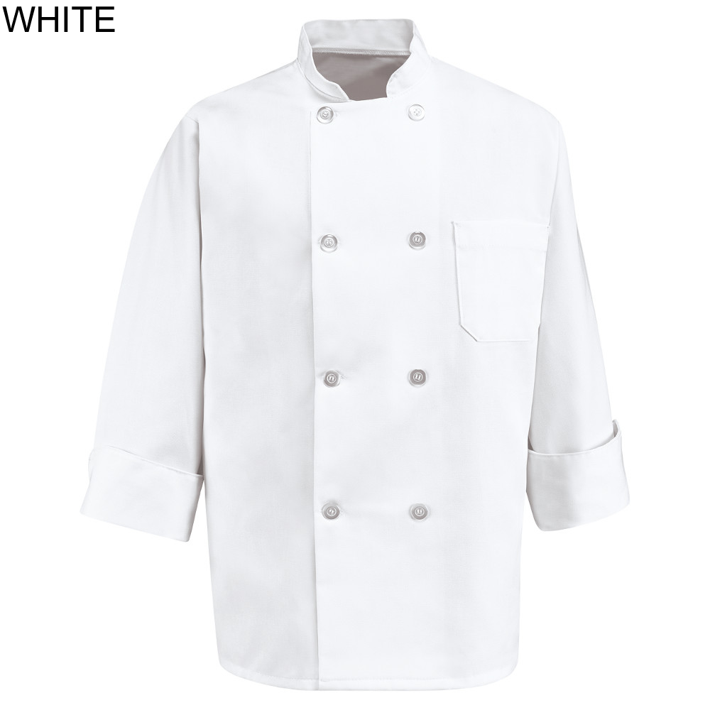 Chef Designs 0403 White Long Sleeve Eight Pearl-Button Chef Coat - 0403WH