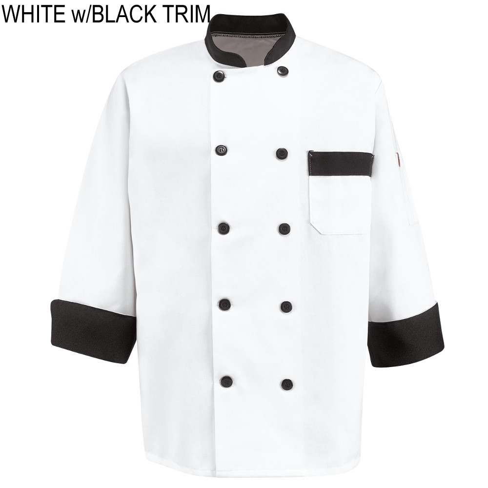 Chef Designs Kt74bt White With Black Trim Garnish Chef Coat