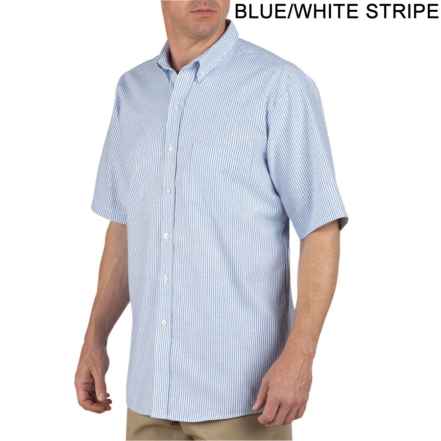 24e766dafb7 Blue White Stripe - Dickies Short Sleeve Button-Down Oxford Shirt   SS46BS  French ...
