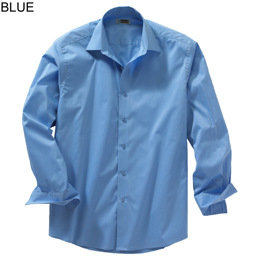 Edwards men 39 s long sleeve spread collar dress shirt 1033 for What is a spread collar shirt