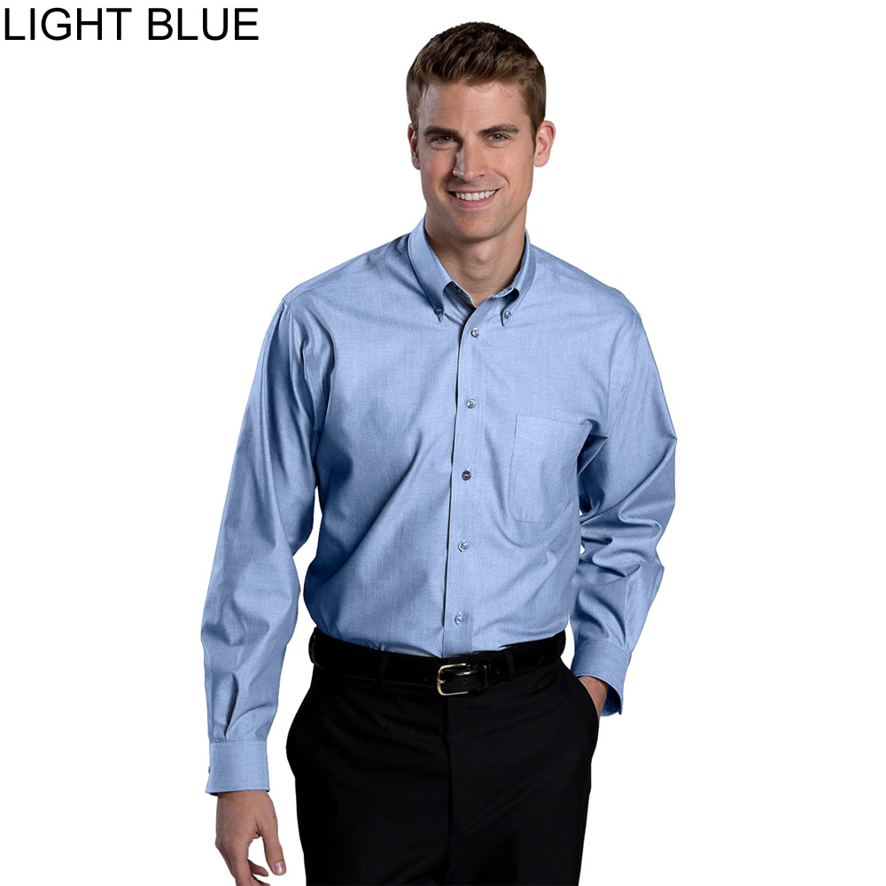 Edwards men 39 s no iron button down long sleeves dress shirt for Dress shirt no pocket