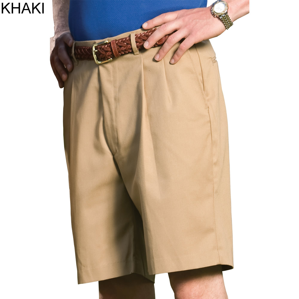 a75301fb040 ... Khaki - Edwards Men s Business Casual Pleated Front Chino Short    2410-015