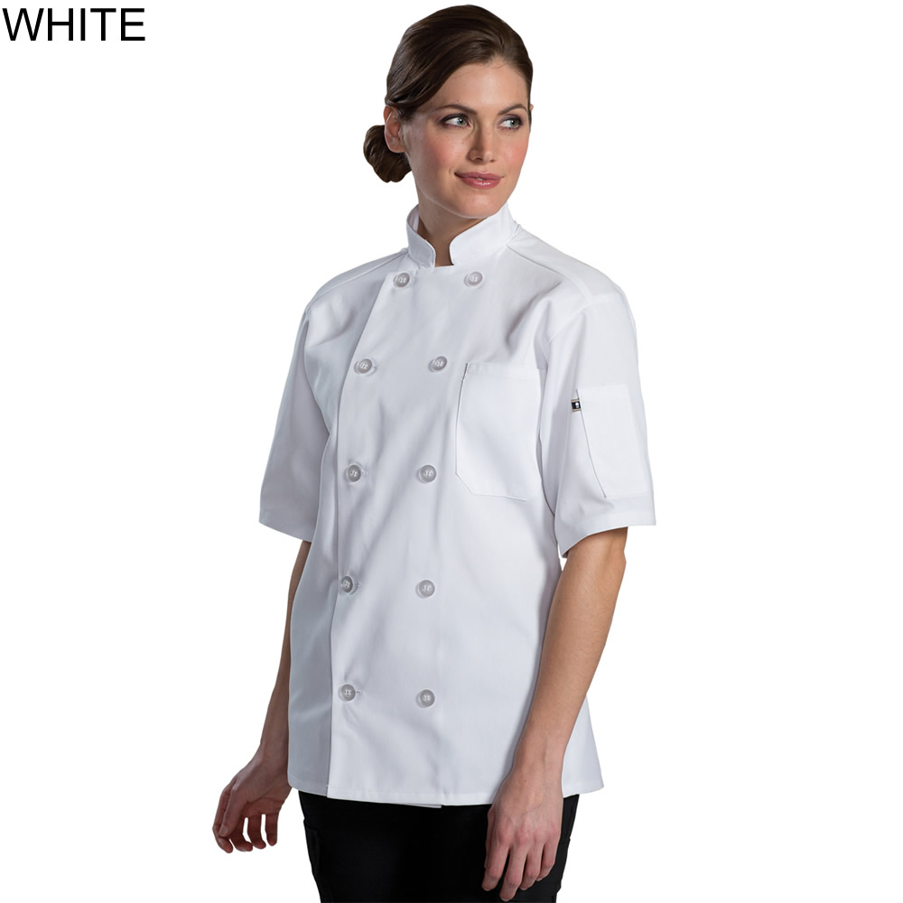Edwards Mid Weight Short Sleeve Ten Button Chef Coat - 3333