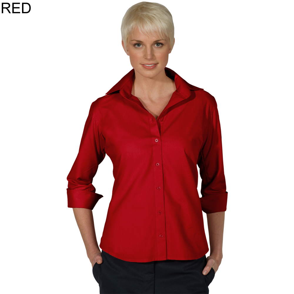 f64e9c93eee ... Red - Edwards Ladies' 3 4 Sleeve Blouse ...