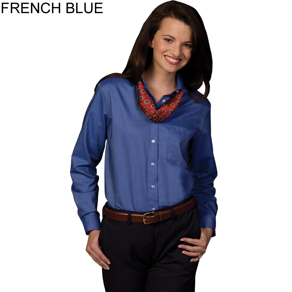 Edwards women 39 s long sleeve oxford shirt 5077 for French blue oxford shirt