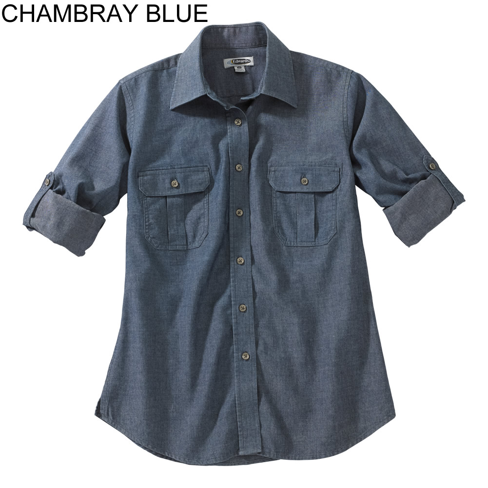 Edwards women 39 s chambray roll up long sleeve shirt 5298 for Chambray long sleeve shirt