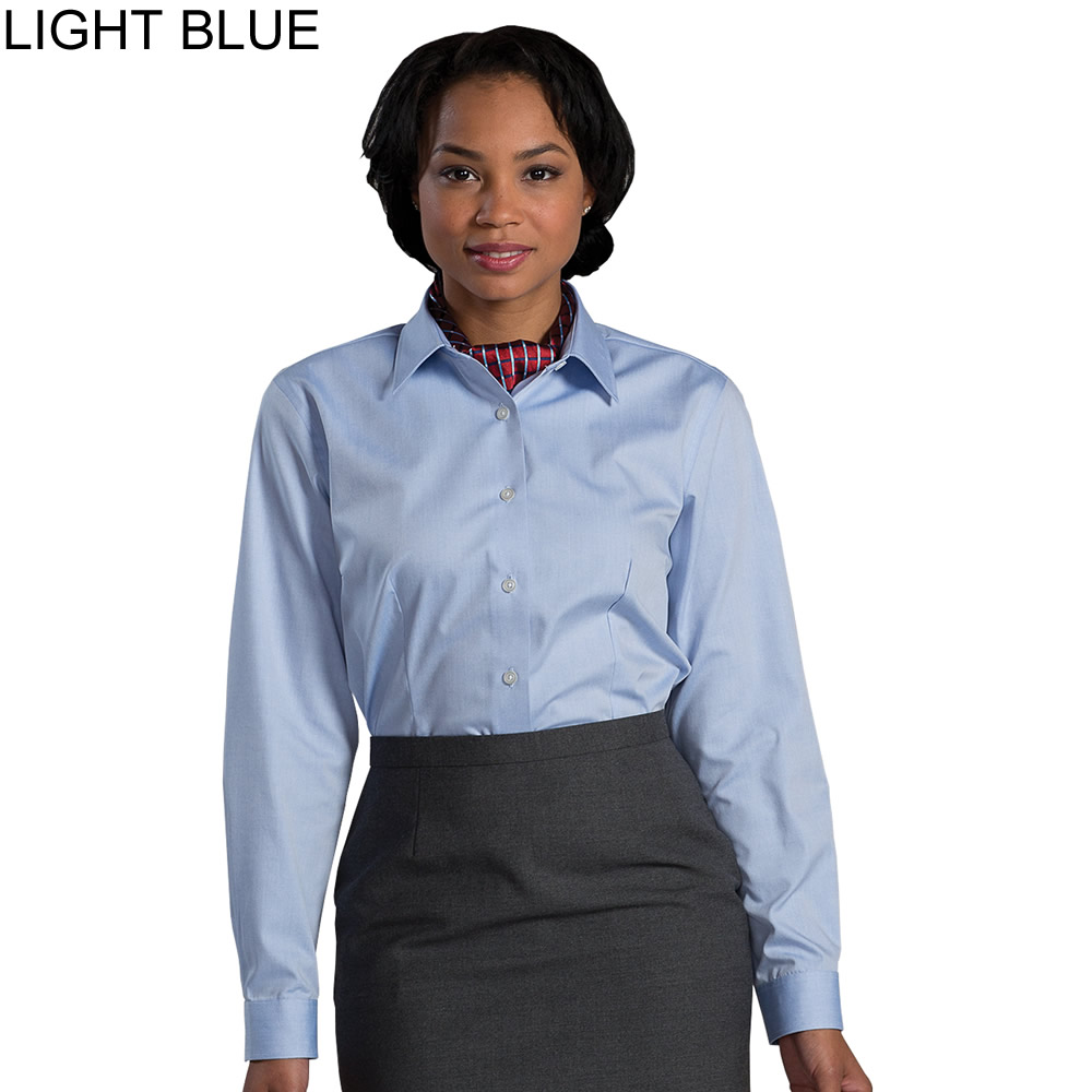 Edwards ladies 39 non iron dress long sleeve shirt 5978 for Ladies non iron shirts