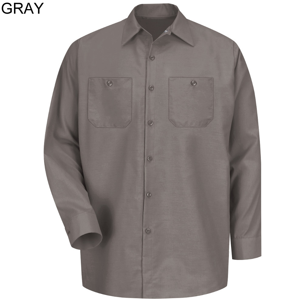08a2548ad2a ... Grey - Red Kap Men s Industrial Long Sleeve Work Shirt   SP14GY ...