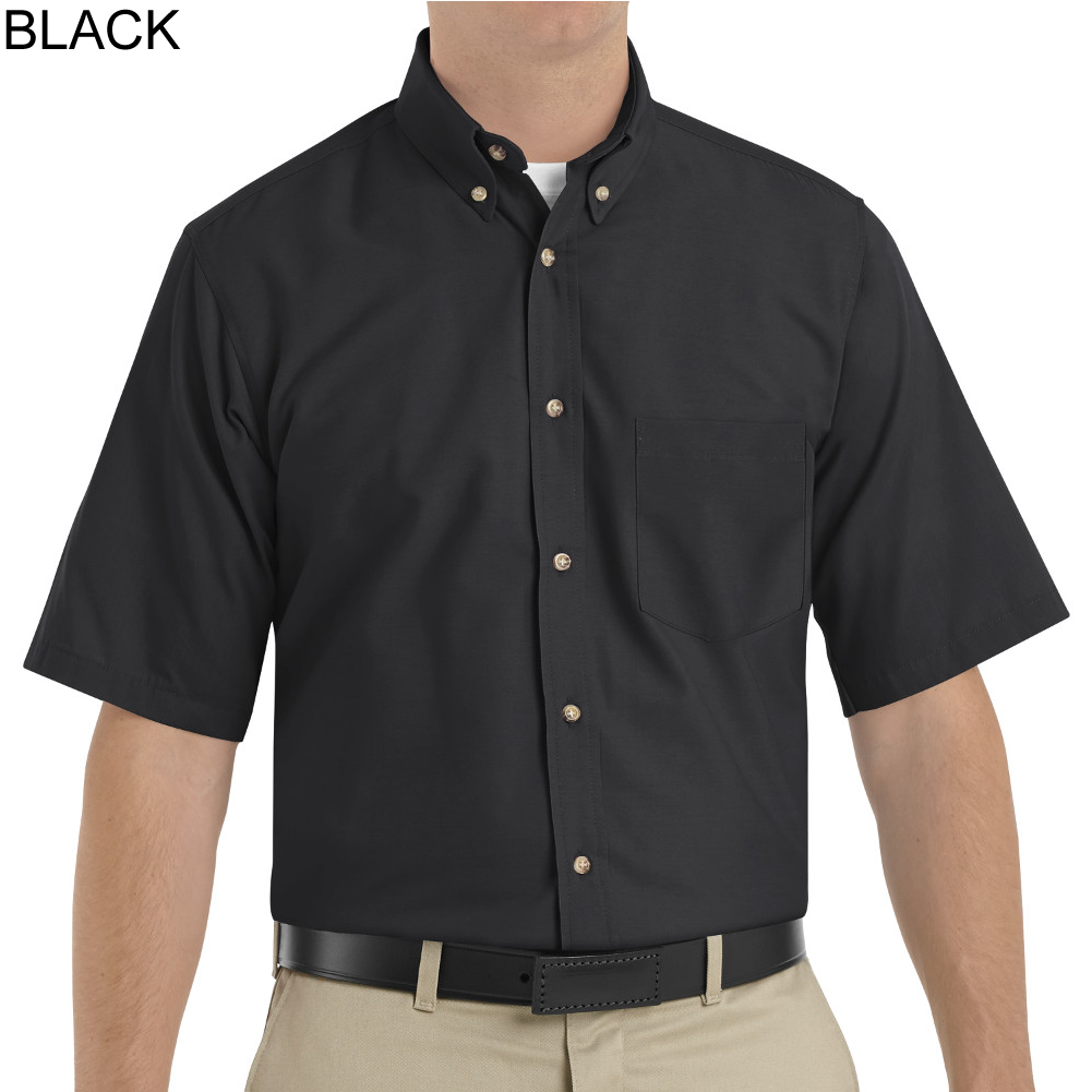 Red kap sp80 men 39 s short sleeve button down poplin shirt for Mens black short sleeve dress shirt