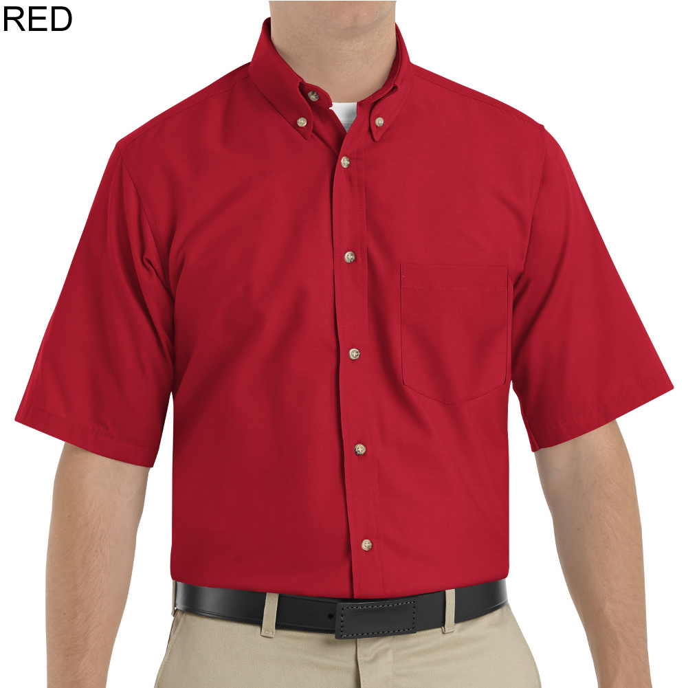 Red kap sp80 men 39 s short sleeve button down poplin shirt for Button down uniform shirts