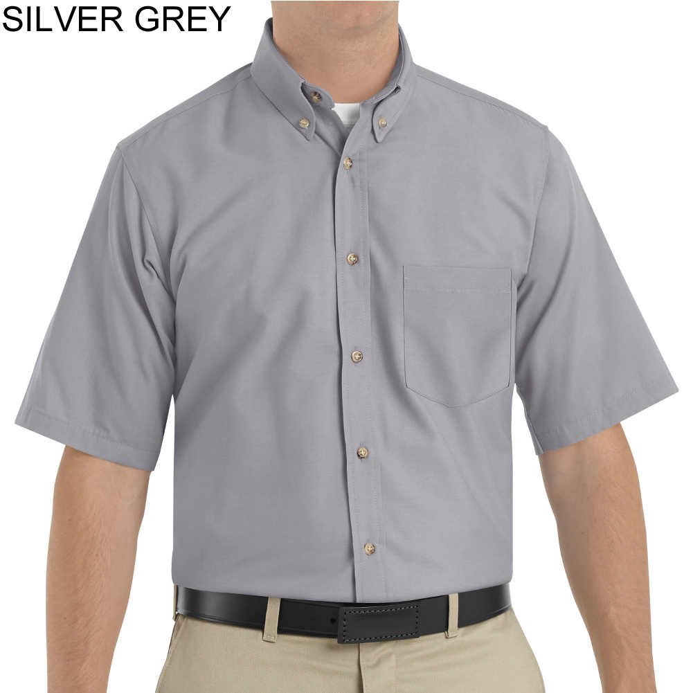 Grey Short Sleeve Button Down Shirt