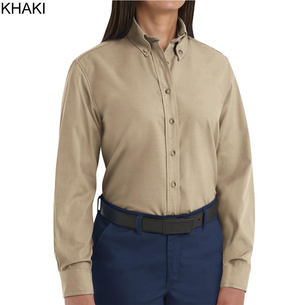 Red kap sp91 women 39 s long sleeve button down poplin shirt for Long sleeve poplin shirt