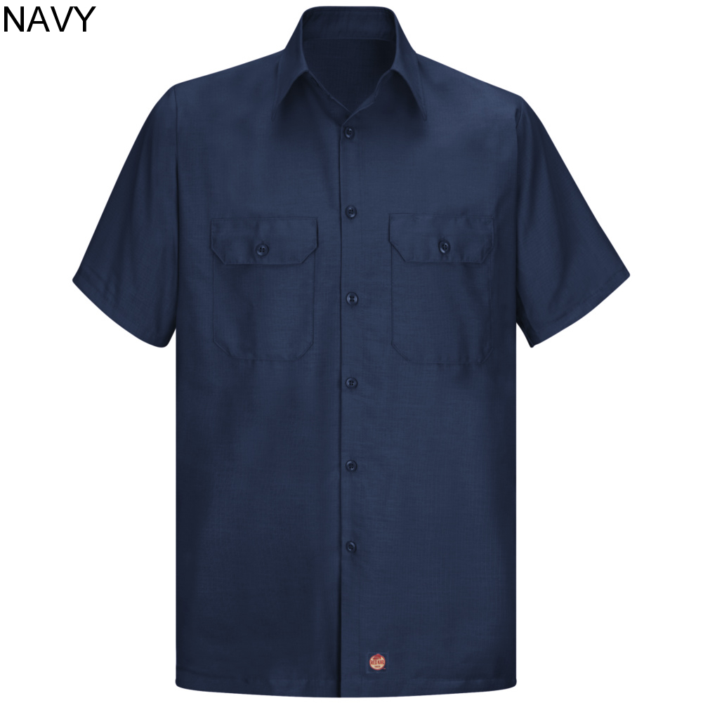 Red kap men 39 s solid ripstop short sleeve shirt sy60 for Red kap mechanic shirts