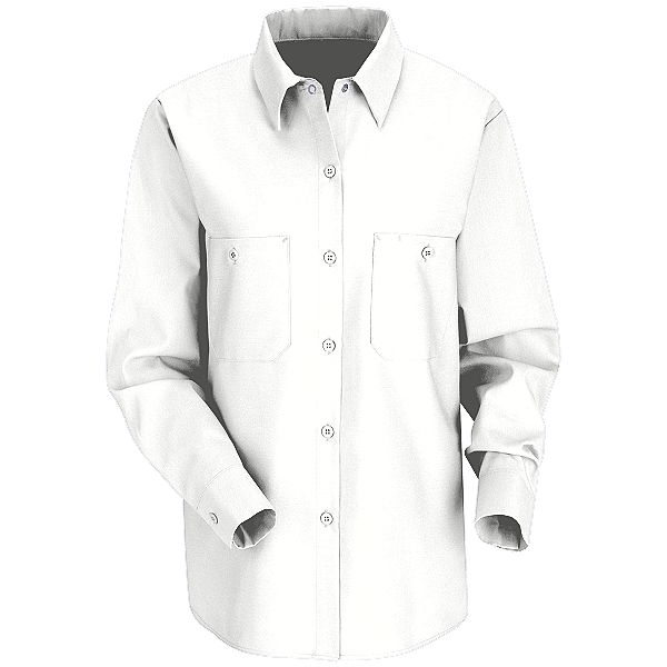 df970743 ... White - Red Kap Women's Industrial Long Sleeve Work Shirt # SP13WH ...