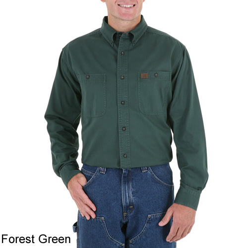 fe54cc1d4127 ... Forest Green - Riggs Workwear by Wrangler Men's Long Sleeve Twill Work  Shirt # 3W501FG ...