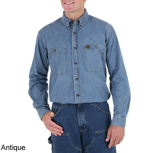 8467399ea6f Antique - Riggs Workwear by Wrangler Men s Long Sleeve Denim Work Shirt    3W510AN