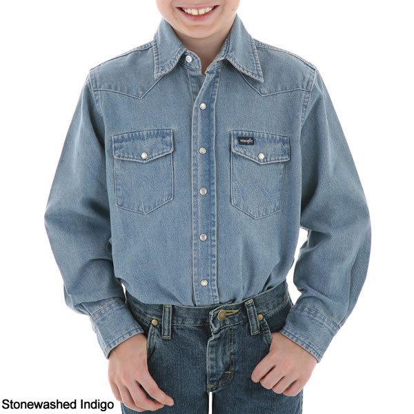 Wrangler boys basic solid snap western shirt for Mens shirts with snaps instead of buttons