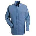 Bulwark SEG2LD EXCEL FR Button-Front Light Blue Denim Dress Uniform Shirt