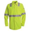 Bulwark SMW4HV Hi-Visibility Flame-Resistant Long Sleeve Work Shirt